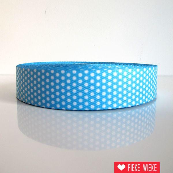 Tassenband stippen blauw 30mm