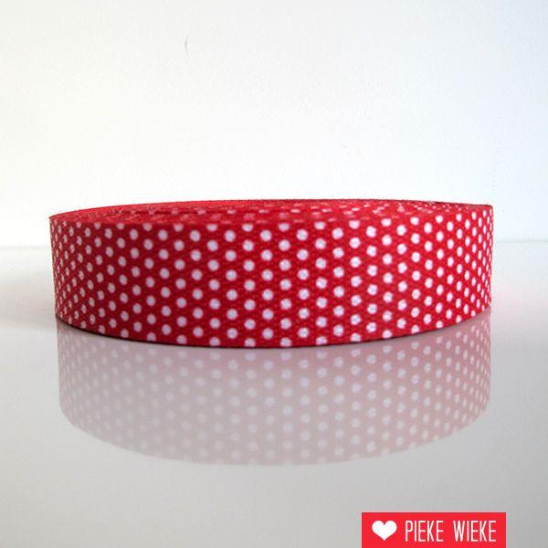 Tassenband stippen rood 30mm