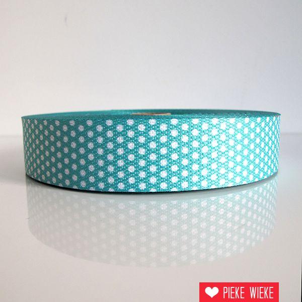 Tassenband stippen mint 30mm