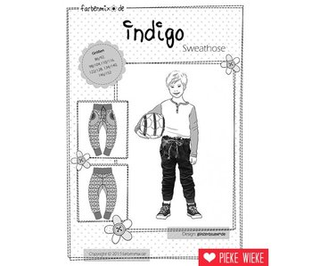Farbenmix Patroon Indigo joggingbroek