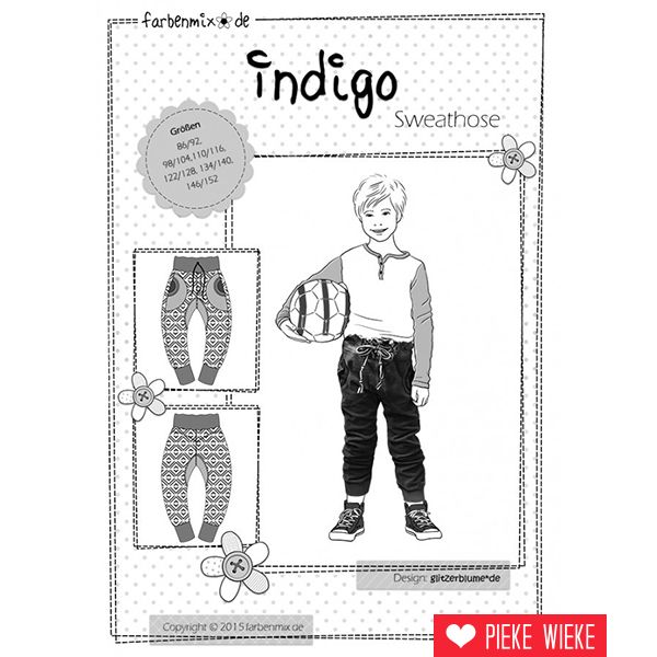 Farbenmix Patroon Indigo joggingbroek