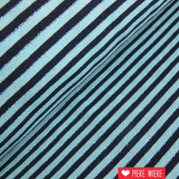 Tricot Stripes blauw zilver