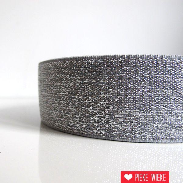 Elastiek zilver 40mm extra dik