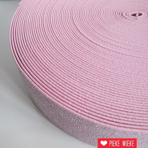 Glitterelastiek Roze 50mm