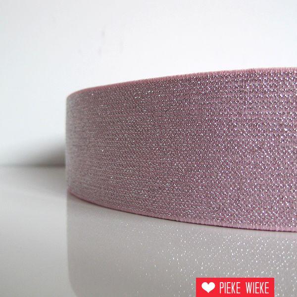 Glitterelastiek Roze 50mm