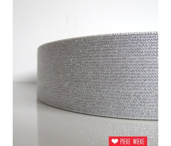 Glitterelastiek Wit 50mm