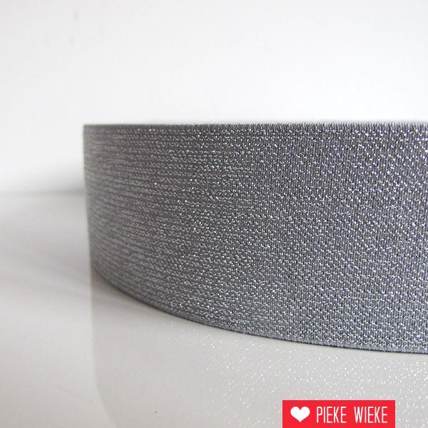 Glitterelastiek Grijs 50mm