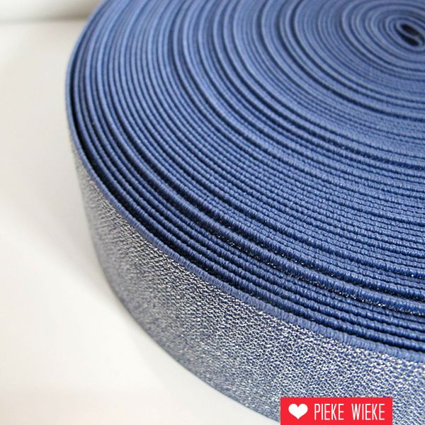 Glitterelastiek Blauw 50mm