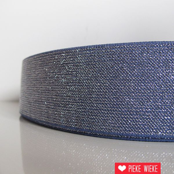 Glitterelastiek Blauw 50mm