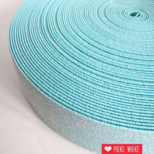 Glitterelastiek Turquoise 50mm