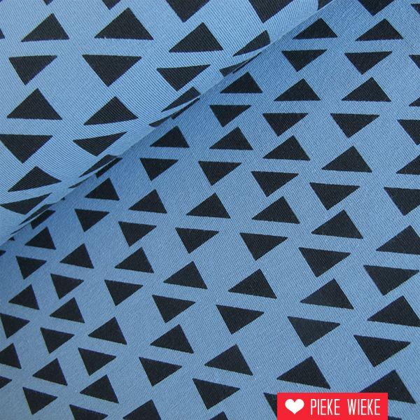 Tricot diagonal triangles blauw