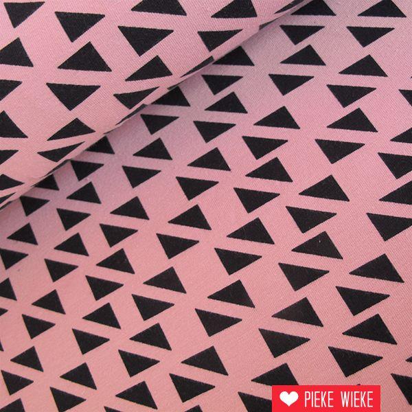 Tricot diagonal triangles roze