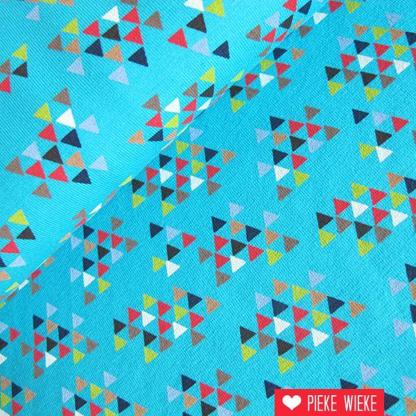 Tricot driehoekjes blauw