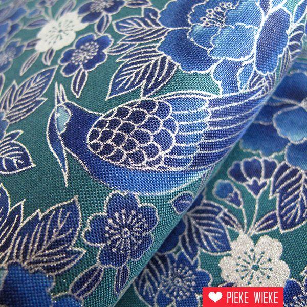Katoen ryoran birds turquoise - Oosters stof ...