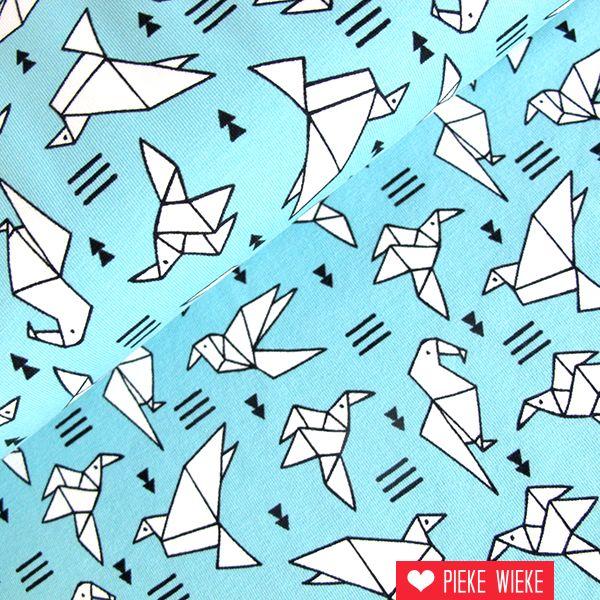 Tricot vogels blauw