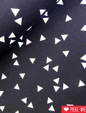 Katoen Driehoekjes zwart wit