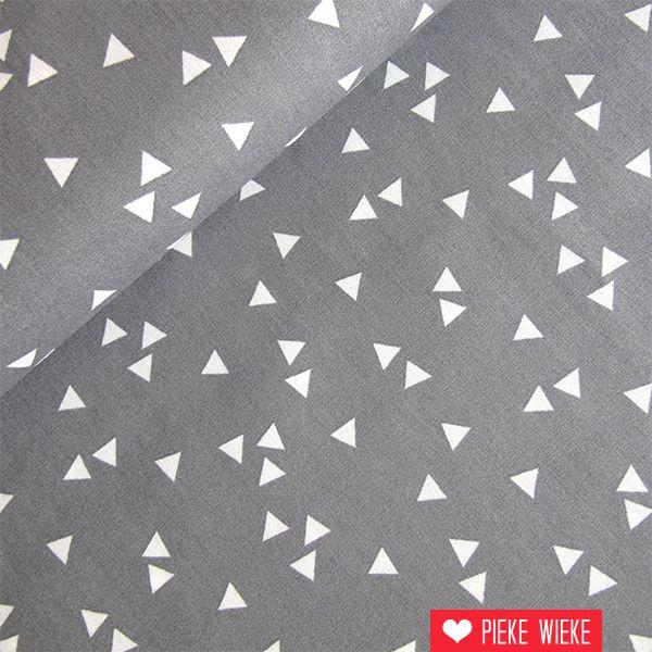 Katoen Driehoekjes grijs - wit