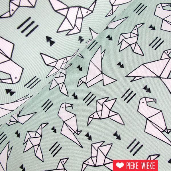 Tricot vogels mint