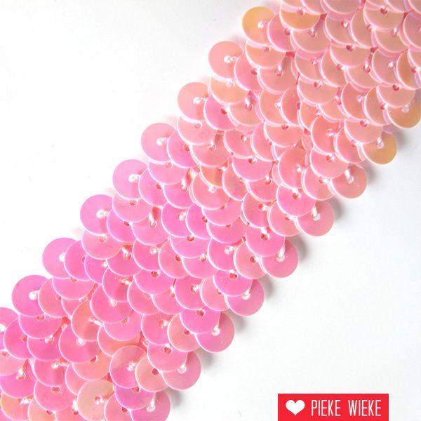 Elastische Pailettenband 3cm roze