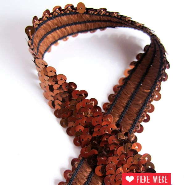 Elastic band with pailettes 30mm brown