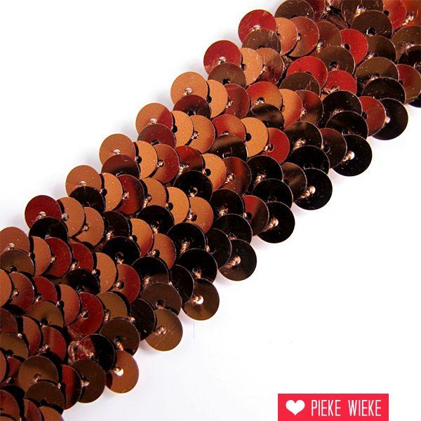 Pailettenband 3cm bruin