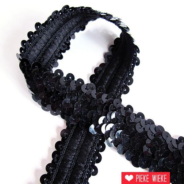 Pailettenband 3cm zwart
