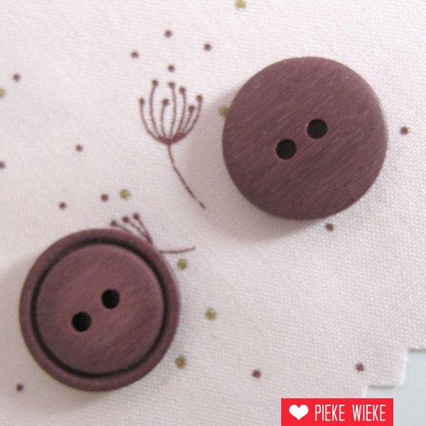 Bruin roze knoopje 15mm