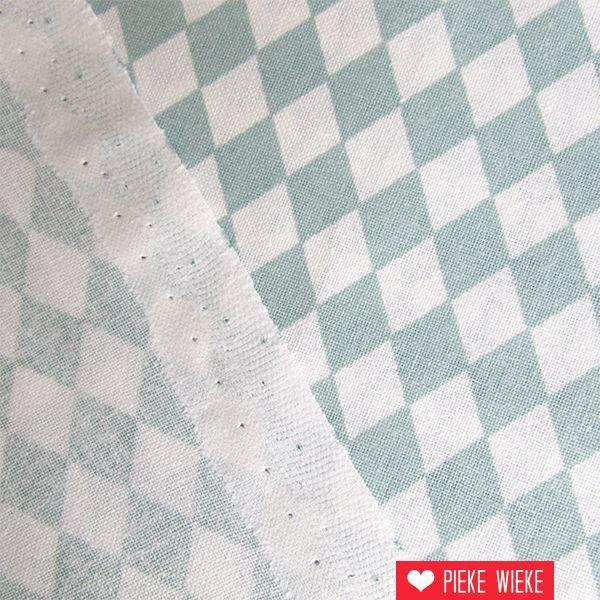 Rico design Katoen Fijne ruit ijs blauw