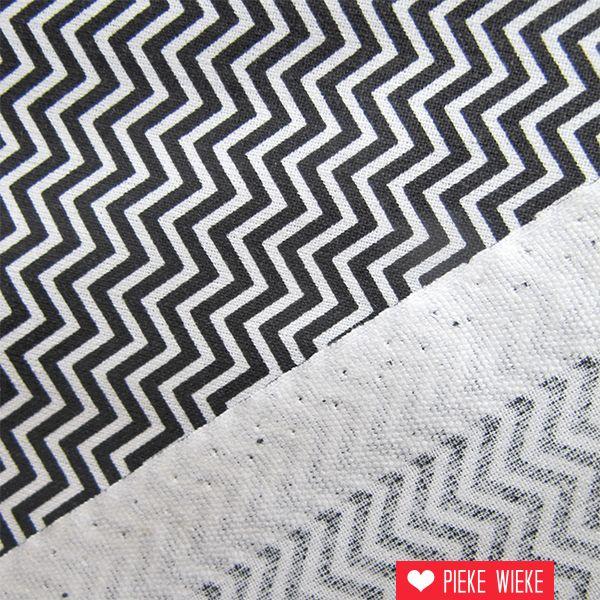 Rico design Katoen Fijne chevron zwart