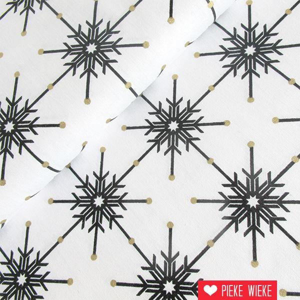 Rico design Katoen Ijskristallen zwart - goud