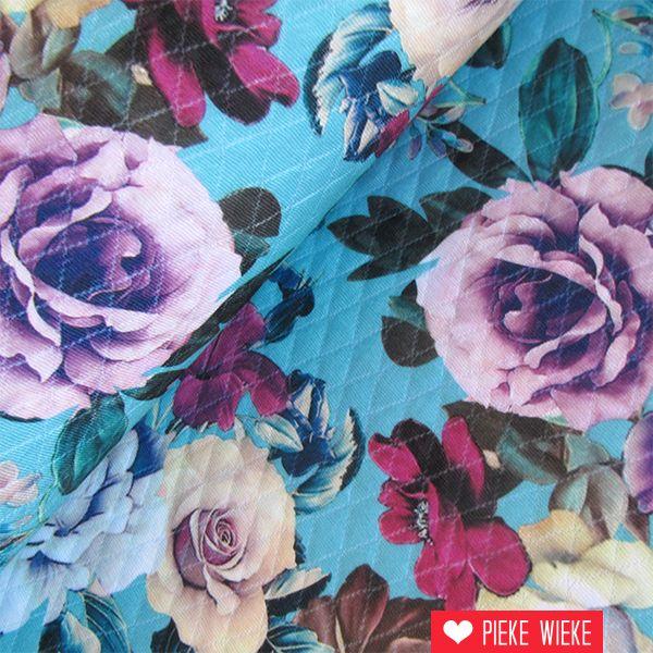 Sweater ruitenstructuur bloemen fel blauw