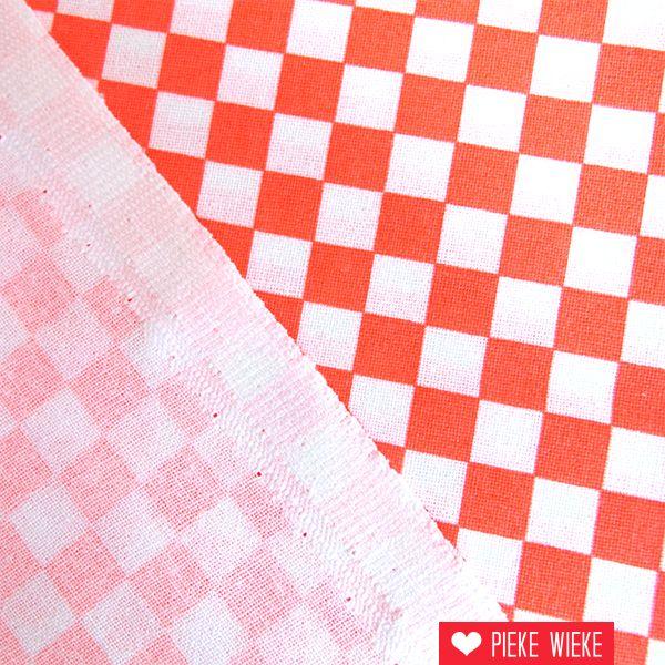 Rico design Checkboard fluo red