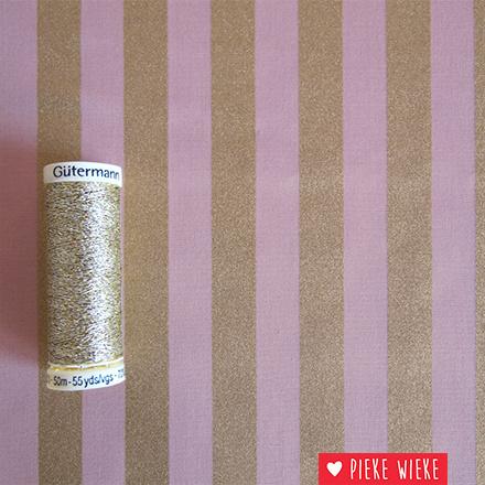 Rico design Stripes Roze - goud