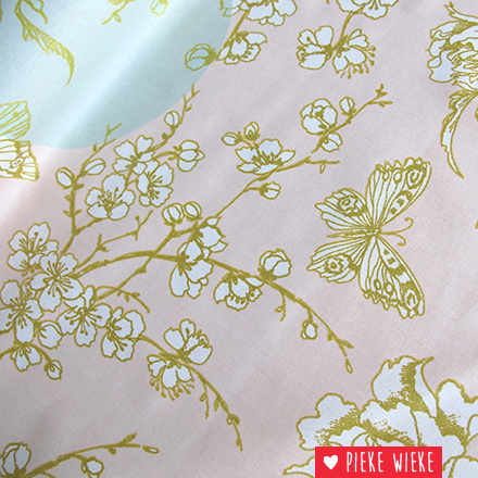 Rico design Coated cotton cherryblossoms gold