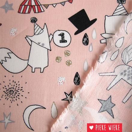 Poppy Katoen Circus stars glitter roze