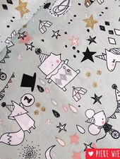 Poppy Katoen Circus stars glitter mint