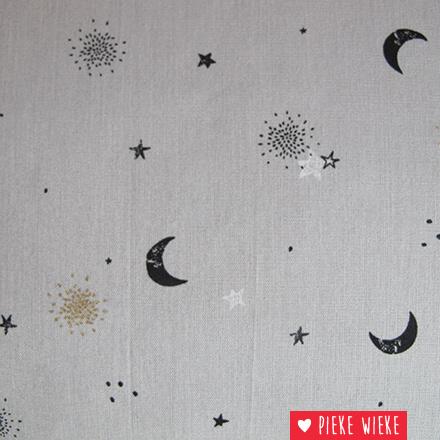 Poppy Katoen Stars glitter grijs