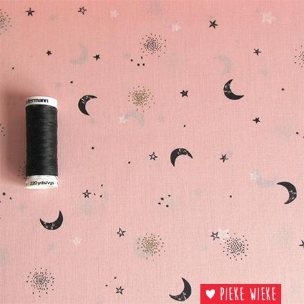 Poppy Katoen Stars glitter roze