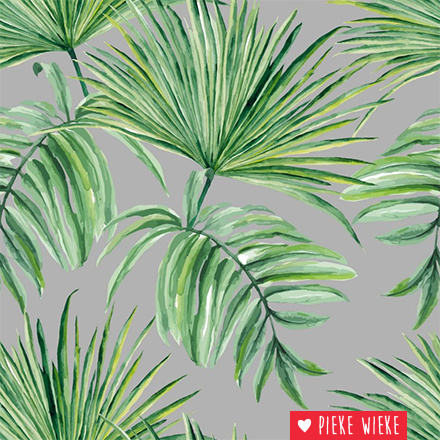 About blue fabrics French Terry Palm leaves