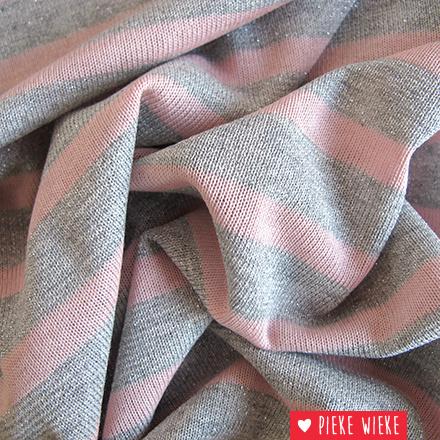 Glitter tricot gelijnd Roze
