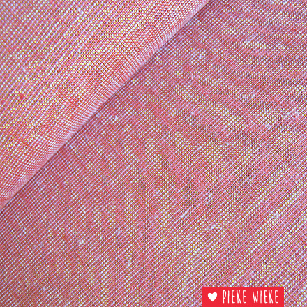 Robert Kaufman Linen cotton coral with gold