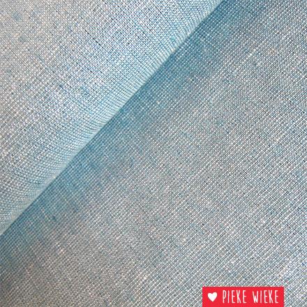 Robert Kaufman Linnen katoen ijsblauw met zilver