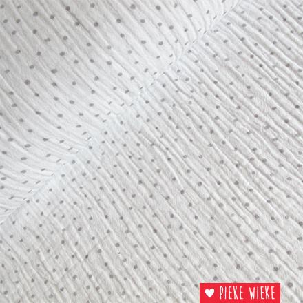 Double Gauze Dots White - gray