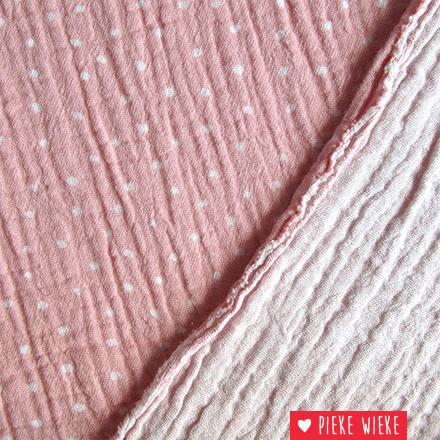Hydrofiel Dots Roze - wit