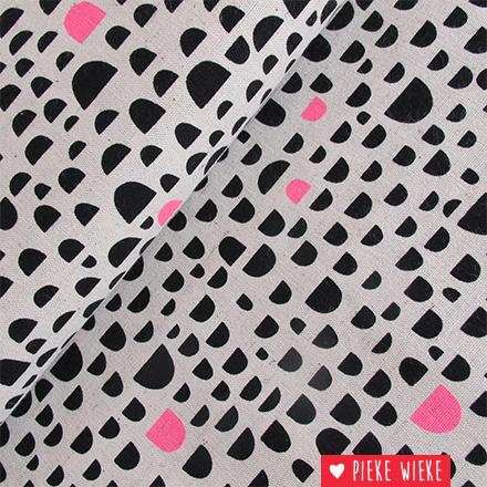 Kokka Canvas Rough Cut Black - fluo pink