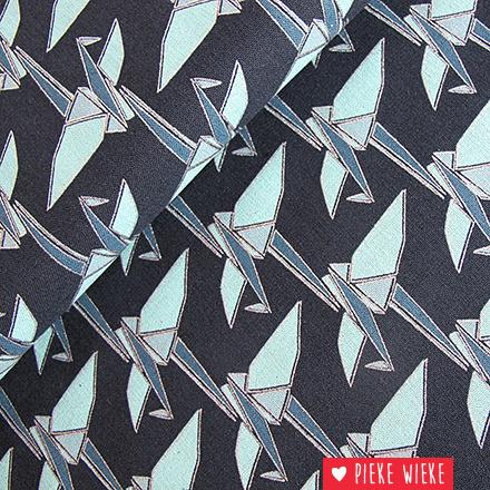 Kokka Canvas Origami Birds Blue - Silver