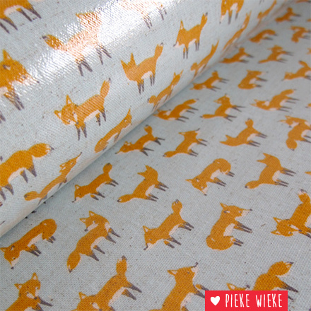 Kokka Gelamineerde canvas Little fox Lichtblauw