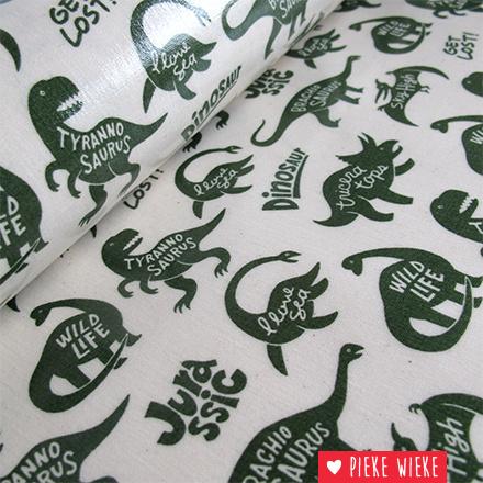 Kokka Gelamineerde canvas Dinosaur groen