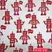 Kokka Gelamineerde canvas Robots Rood