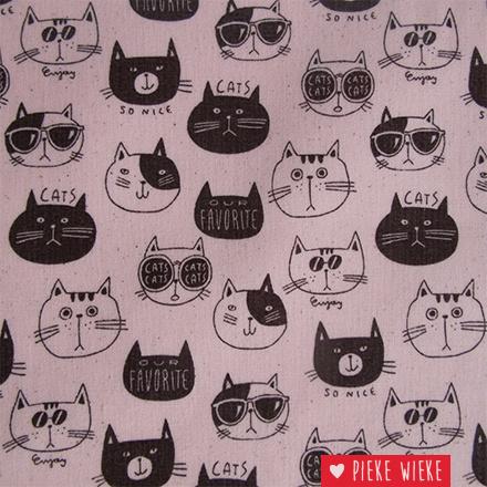 Kokka Gelamineerde canvas Cats Roze